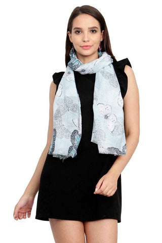 FabSeasons Turqoise Viscose Butterfly Printed Soft & Stylish Scarf