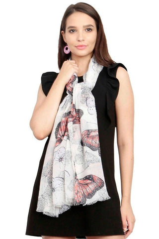 FabSeasons White Viscose Butterfly Printed Soft & Stylish Scarf