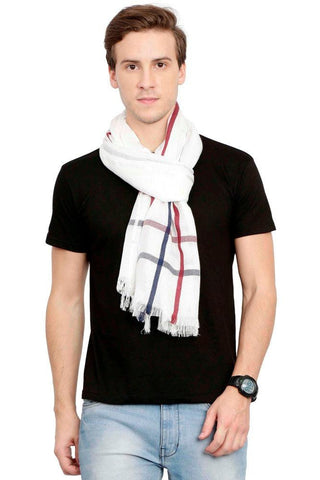 FabSeasons Casual White Checkered Men's Cotton Scarf