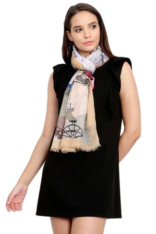 FabSeasons Viscose Abstract Beign Printed Soft & Stylish Scarf