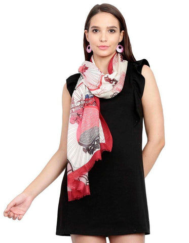 FabSeasons Viscose Abstract Maroon Printed Soft & Stylish Scarf