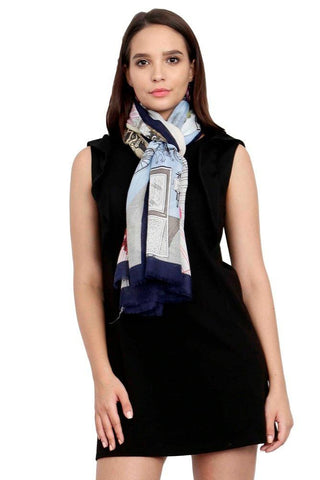 FabSeasons Viscose Abstract Navy Printed Soft & Stylish Scarf