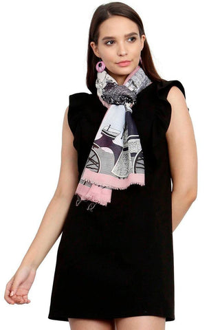 FabSeasons Viscose Abstract Pink Printed Soft & Stylish Scarf