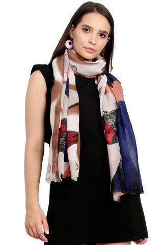FabSeasons Brown Cotton Viscose Colorful Printed Soft & Stylish Scarf