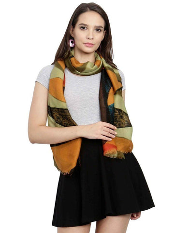 FabSeasons Green Cotton Viscose Colorful Printed Soft & Stylish Scarf