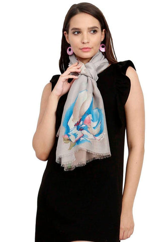 FabSeasons Blue Viscose Colorful Floral Printed Soft & Stylish Scarf