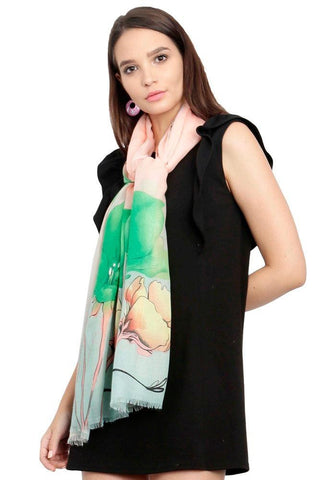 FabSeasons Green Viscose Colorful Floral Printed Soft & Stylish Scarf