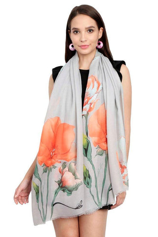 FabSeasons Orange Viscose Colorful Floral Printed Soft & Stylish Scarf