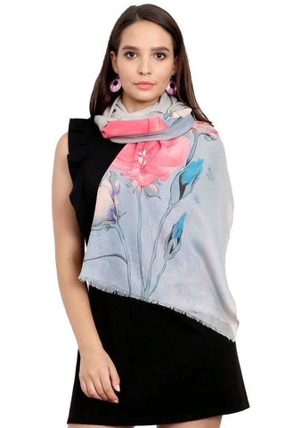 FabSeasons Pink Blue Viscose Colorful Floral Printed Soft & Stylish Scarf