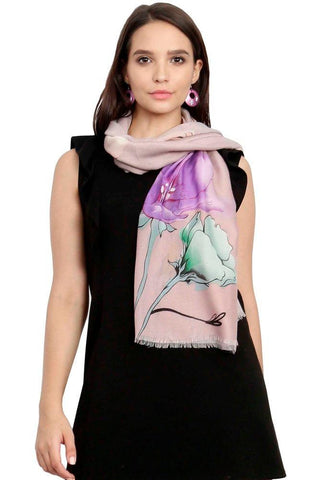 FabSeasons Purple Viscose Colorful Floral Printed Soft & Stylish Scarf