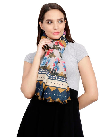 FabSeasons Traditional Blue Viscose Abstract Printed Soft & Stylish Scarf