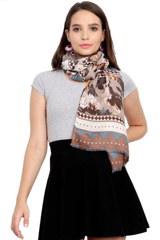 FabSeasons Traditional Brown Viscose Abstract Printed Soft & Stylish Scarf