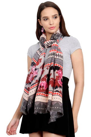 FabSeasons Traditional Grey Viscose Abstract Printed Soft & Stylish Scarf