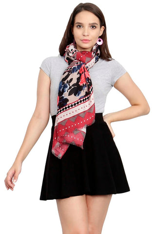 FabSeasons Traditional Maroon Viscose Abstract Printed Soft & Stylish Scarf