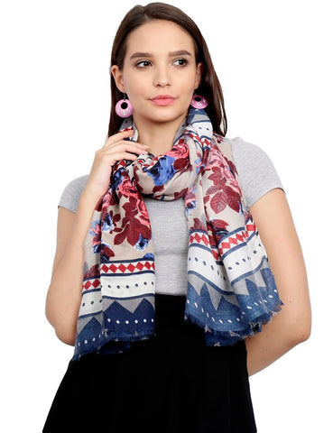 FabSeasons Traditional Navy Viscose Abstract Printed Soft & Stylish Scarf