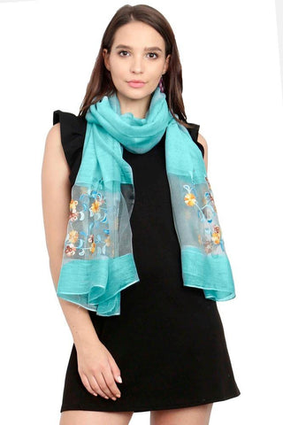 FabSeasons Solid Blue Viscose Stylish Scarf