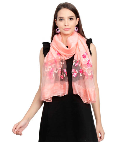 FabSeasons Solid Peach Viscose Stylish Scarf