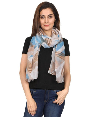 FabSeasons Brown Abstract Puzzle Printed Cotton Scarf