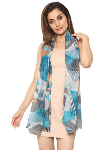 FabSeasons Green Abstract Puzzle Printed Cotton Scarf