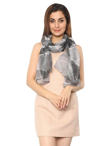 FabSeasons Grey Abstract Puzzle Printed Cotton Scarf