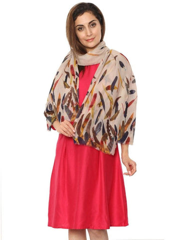 FabSeasons Beign Abstract feathers Printed Cotton Scarf
