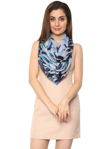 FabSeasons Blue Abstract feathers Printed Cotton Scarf