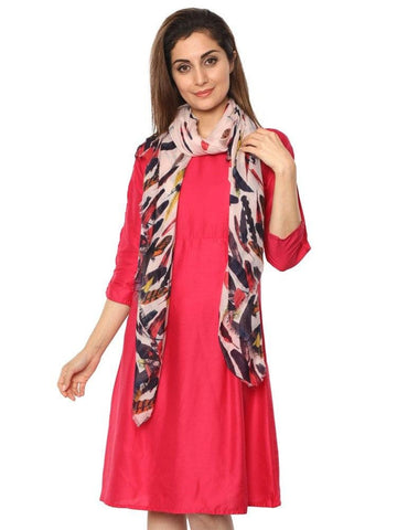 FabSeasons Pink Abstract feathers Printed Cotton Scarf