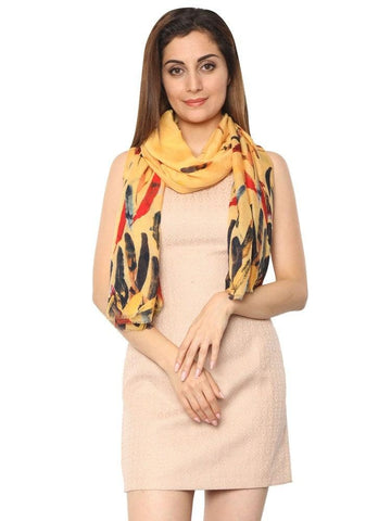 FabSeasons Yellow Abstract feathers Printed Cotton Scarf