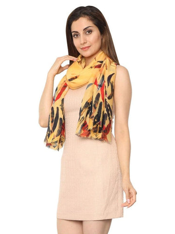 FabSeasons Abstract feathers Printed Cotton Scarf