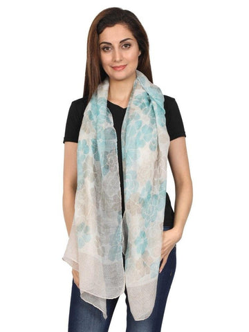 FabSeasons Floral Brown Printed Cotton Scarf, Scarves.
