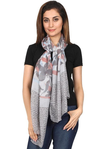 FabSeasons Grey Floral Printed Cotton Scarf