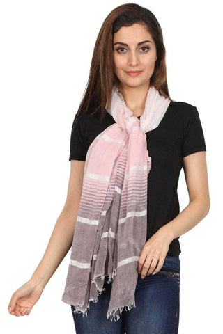 FabSeasons Striped super soft Black Pink Cotton Scarf