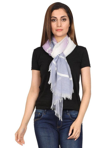 FabSeasons Striped super soft Blue Purple Cotton Scarf