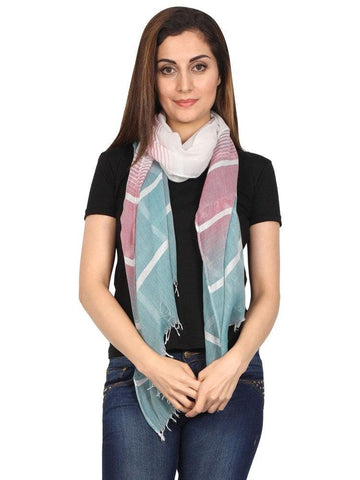 FabSeasons Striped super soft Green Purple Cotton Scarf