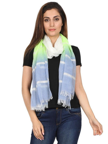 FabSeasons Striped super soft Neon Blue Cotton Scarf