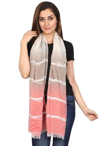 FabSeasons Striped super soft Red Brown Cotton Scarf