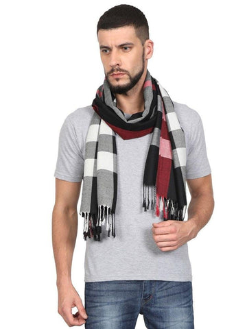 FabSeasons Unisex Black Checkered Scarf