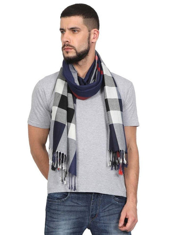 FabSeasons Unisex Navy Checkered Scarf