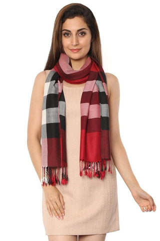 FabSeasons Unisex Red Checkered Scarf