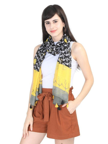 FabSeasons Black Anchor Printed Cotton Scarf for Summer & Winter