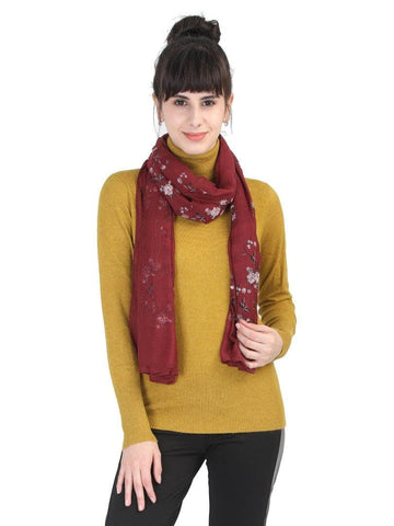 FabSeasons Maroon Leaf Printed Cotton Scarf For Women & Girls