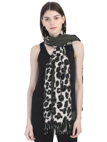 FabSeasons Dark Green Leopard Printed Acrylic Woolen Scarf For Women