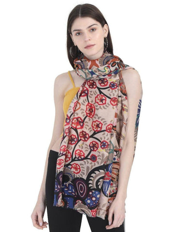 FabSeasons Stylish Brown Floral Printed Cotton Scarves For Women