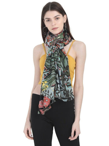 FabSeasons Stylish Green Floral Printed Cotton Scarves For Women