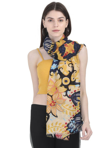 FabSeasons Stylish Yellow Floral Printed Cotton Scarves For Women