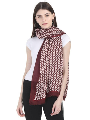 FabSeasons Arrow Printed Maroon Cotton Scarves for Winter and Summer