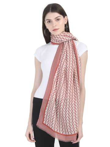 FabSeasons Arrow Printed Peach Cotton Scarves for Winter and Summer