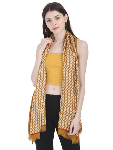 FabSeasons Arrow Printed Yellow Cotton Scarves for Winter and Summer