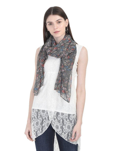 FabSeasons Grey Leaf Printed Cotton Scarf for Summer & Winter