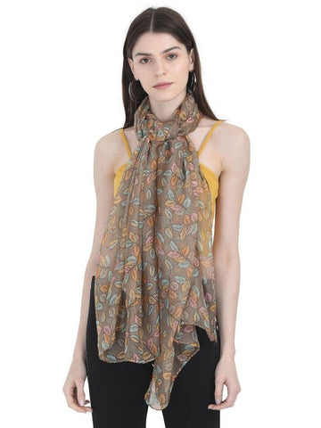 FabSeasons Light Brown Leaf Printed Cotton Scarf for Summer & Winter